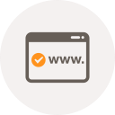 browser, checked, domain, internet, url, window, www icon